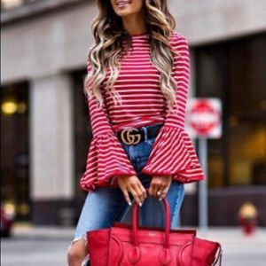 Tops - 🔥 SALE 🔥 LAST 1! NWT Bell Sleeve Stripe Top
